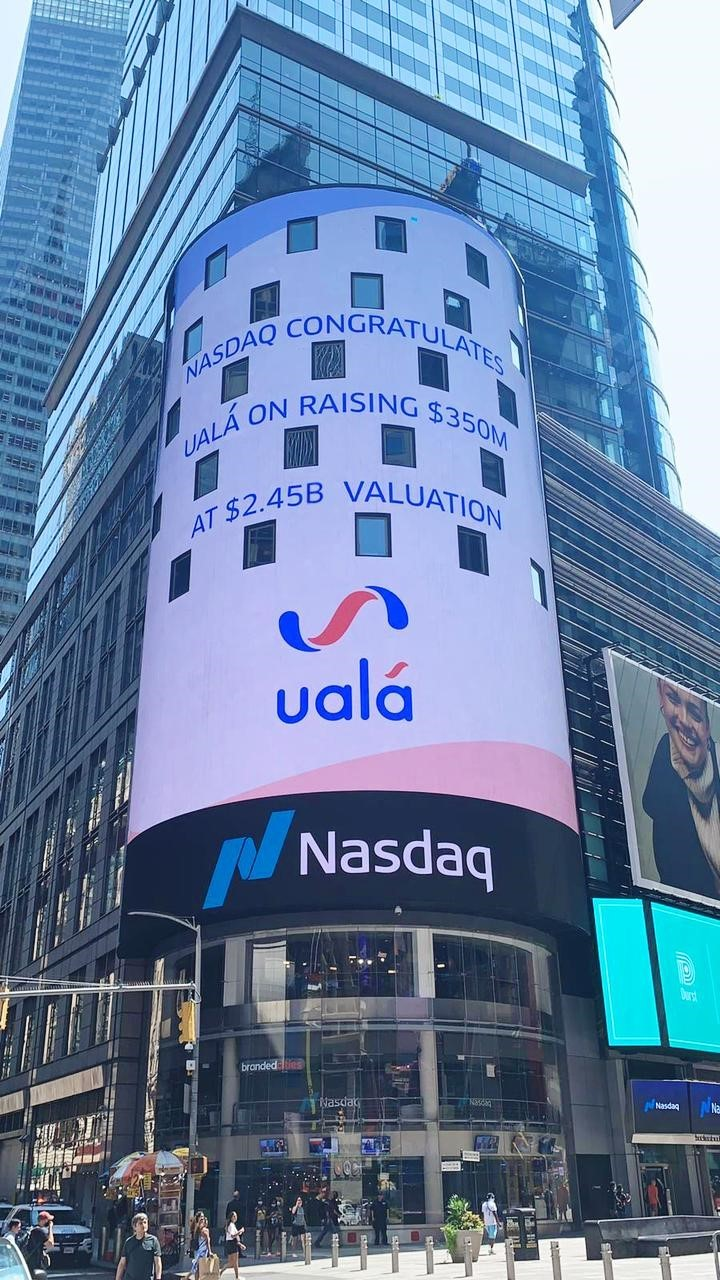 Ualá, in New York: the company on the traditional Nasdaq screen.  Photo Twitter