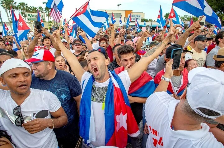 Protests in Miami against the Cuban regime.  Photo EFE
