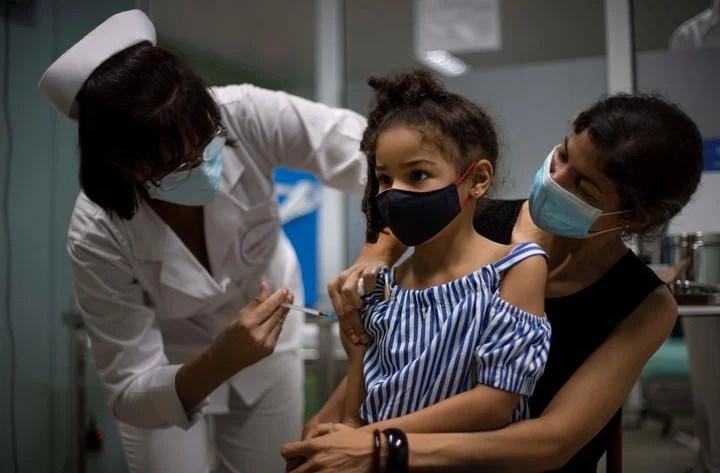 A girl receives the Sovereign 02 vaccine in Havana.  AP Photo