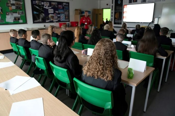 A classroom at a school in Ashton-Under-Lyne, Britain, this week at the back to school.  Photo: AP