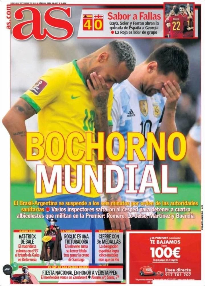La tapa de AS con Brasil-Argentina
