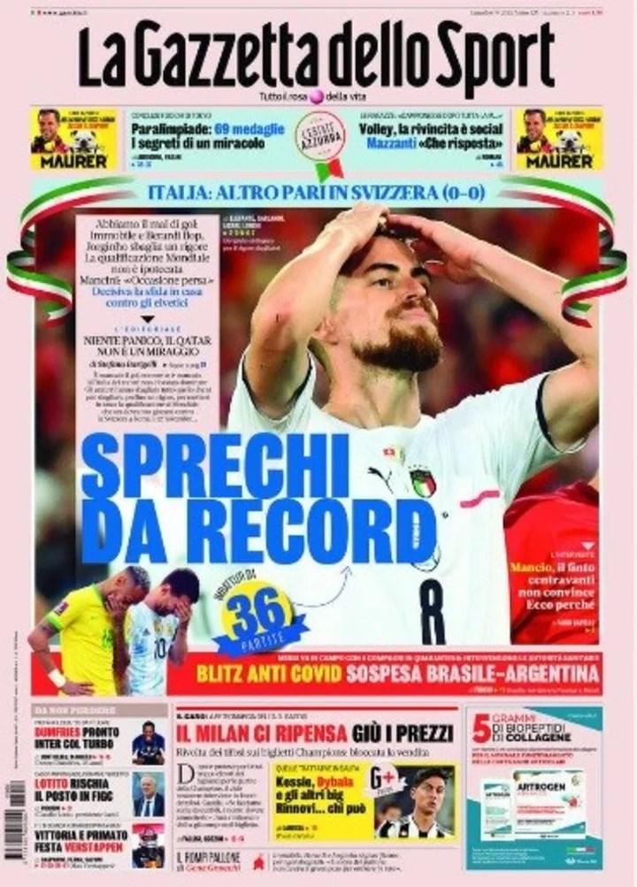 La tapa de La Gazzetta Dello Sport