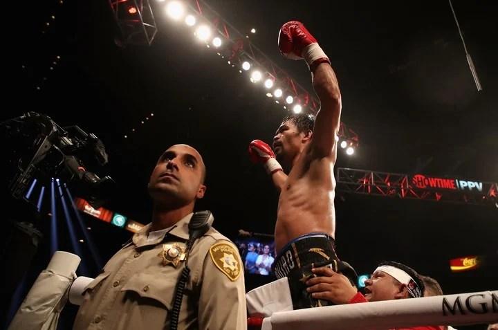 Manny Pacquiao, retiene la corona wlter en las Vegas en enero de 2019.  Foto:/AFP