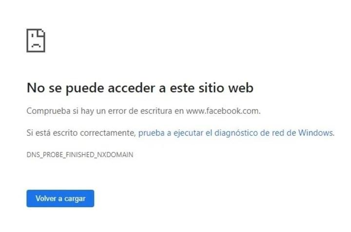 El mensaje recibido al intentar acceder a Facebook vía Google Chrome.