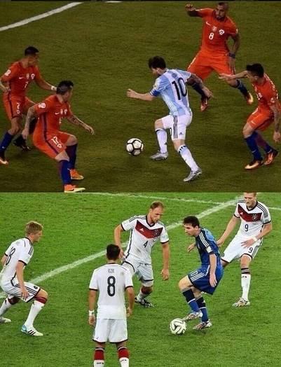 Messi rodeado de chilenos en la final de la Copa América Centenario y de alemanes, en la final del Mundial 2014. (Twitter)