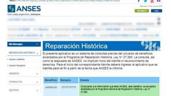 Página web de la ANSES