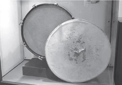 Uno de los primeros bombos supuestamente utilizados por la CGT, exhibido en el Museo 17 de Octubre-Quinta de San Vicente | Juan Clidas
