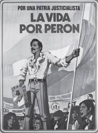 Rucci acribillado desde la izquierda, defendiendo al peronismo con el Escudo. Afiche producido por la CGT (1974). | Museo del Bicentenario