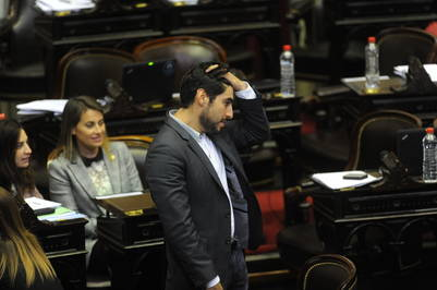 Facundo Moyano, en una sesión este año. Otro de los diputados sin título universitario.