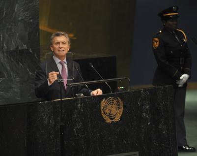 """En la ONU, Macri llamó a solucionar """"amigablemente"""" el diferendo por Malvinas. Foto Adriana Groisman"""