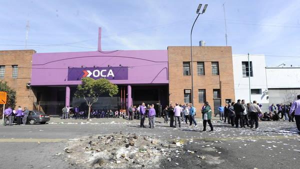 Protesta de los empleados de OCA, hace dos semanas, por deudas salariales. Foto: Gustavo Ortiz