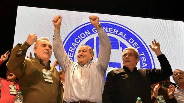 Juan Carlos Schmidt, Carlos Acuña Y Héctor Daer la nueva conducción de la CGT. (DYN / TONY GOMEZ)