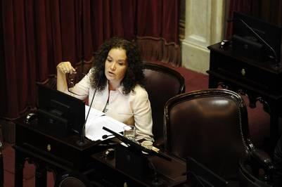 Teresita Luna, riojana, en la sesión por los fondos buitre.