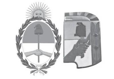 El escudo argentino y el escudo peronista (en su diseño más habitual)