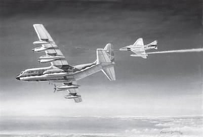 C-130 abasteciendo a A-4B con pérdida de combustible (1982), óleo de E. Martínez, versión en blanco y negro (foto: E. Martínez)