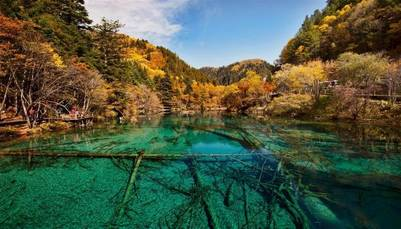 El lago de las Cinco Flores, una perla en el centro de China (Getty Images).