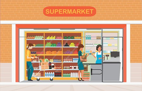 People In Supermarket Grocery Store Clipart Image