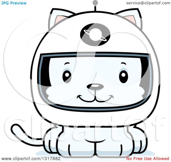 Animal Clipart of a Cartoon Cute Happy White Kitten Cat ...