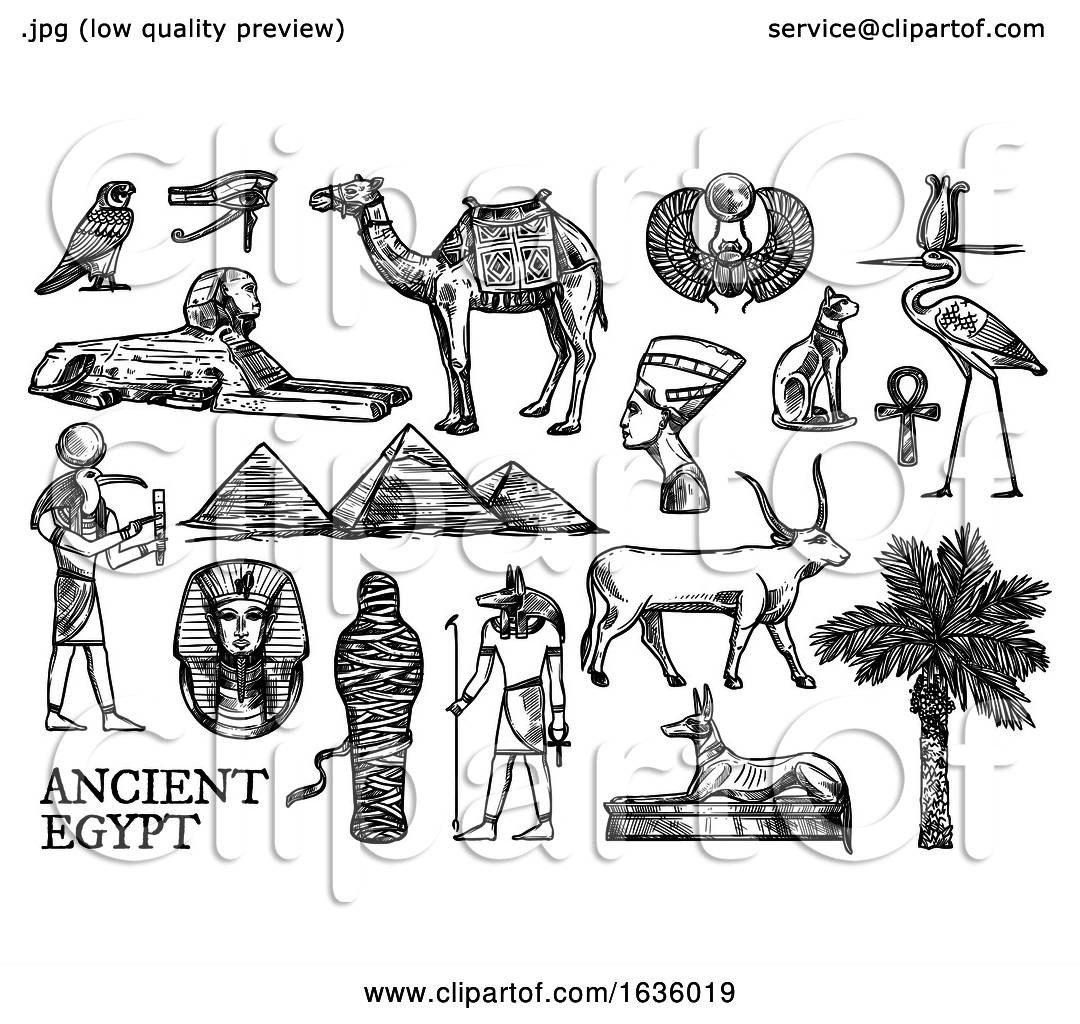 Black And White Sketched Ancient Egyptian Icons By Vector