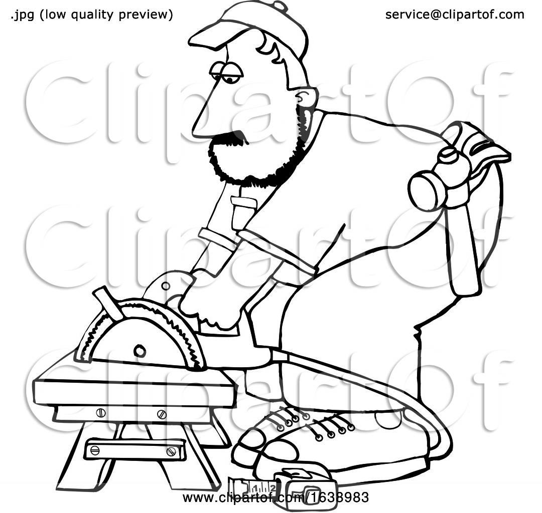 Cartoon Black And White Male Carpenter Using A Circular