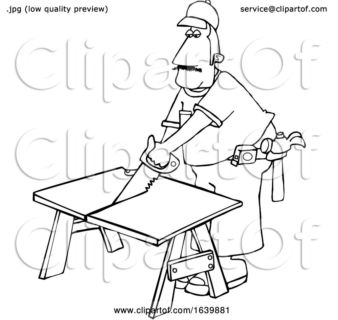 Cartoon Black And White Male Carpenter Using A Saw By