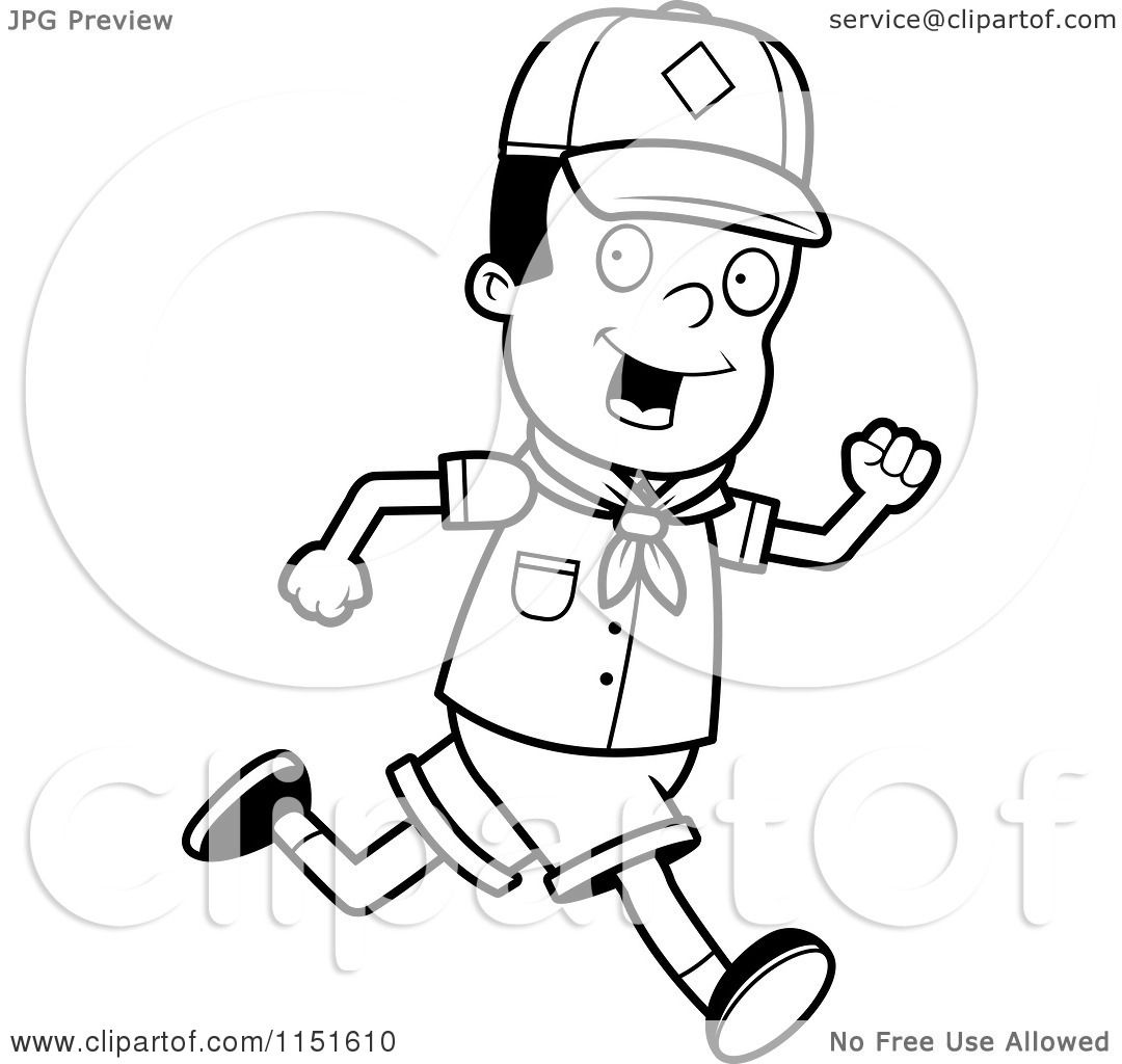 Cartoon Clipart Of A Black And White African American Cub Scout Boy Running