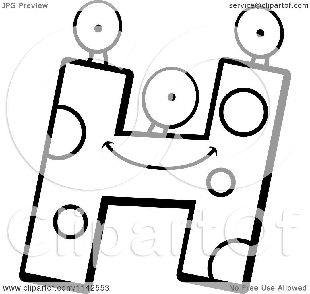 Cartoon Clipart Of A Black And White Alien Letter H