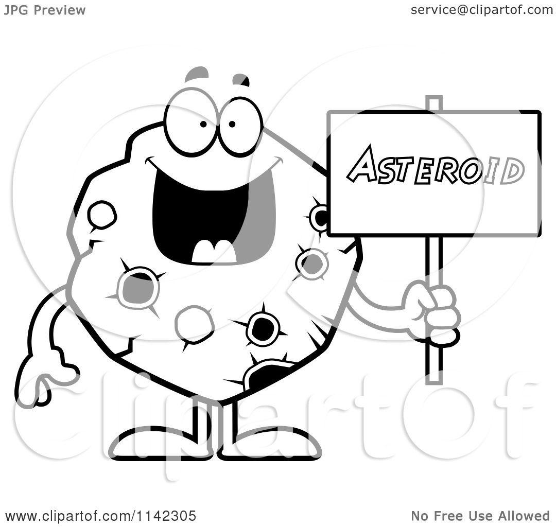 Cartoon Clipart Of A Black And White Asteroid Holding A