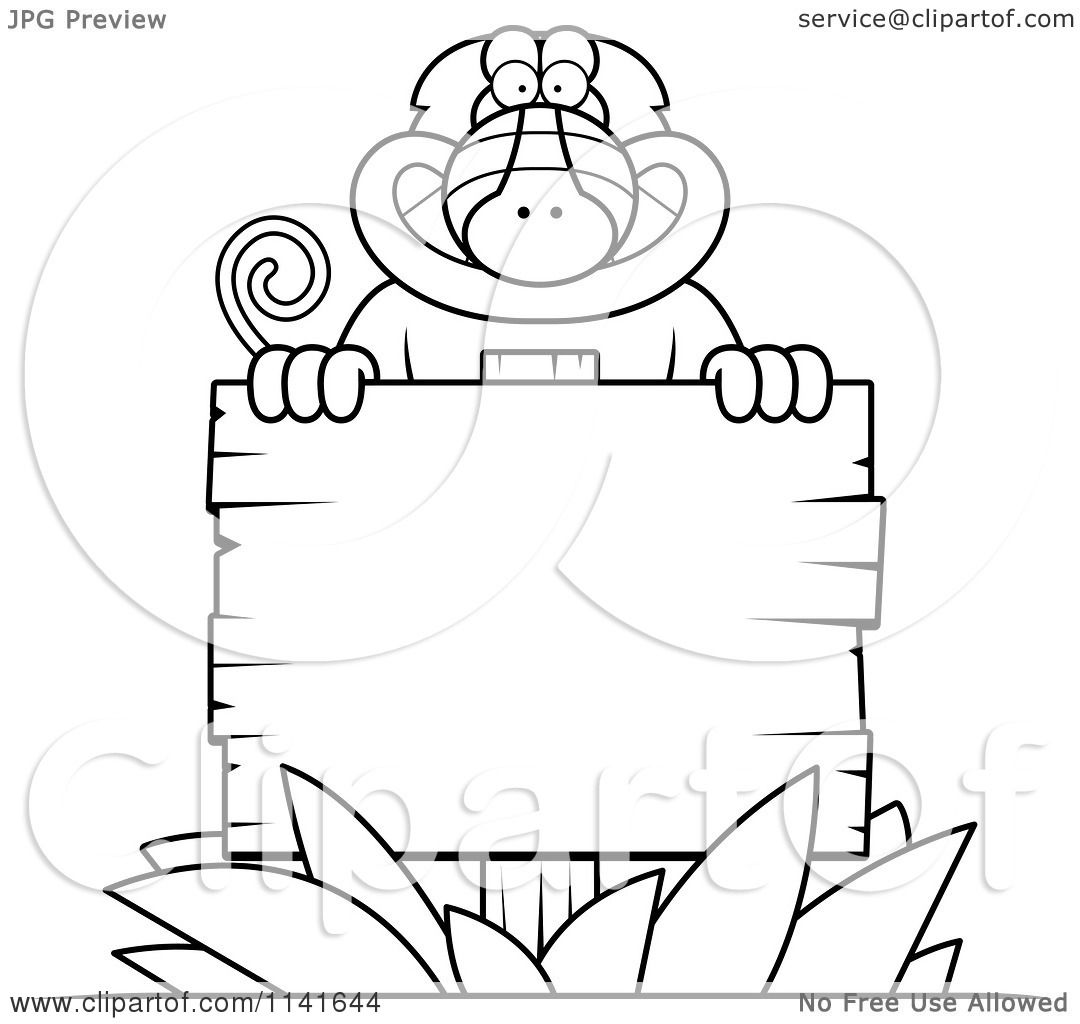 Cartoon Clipart Of A Black And White Baboon Monkey Behind