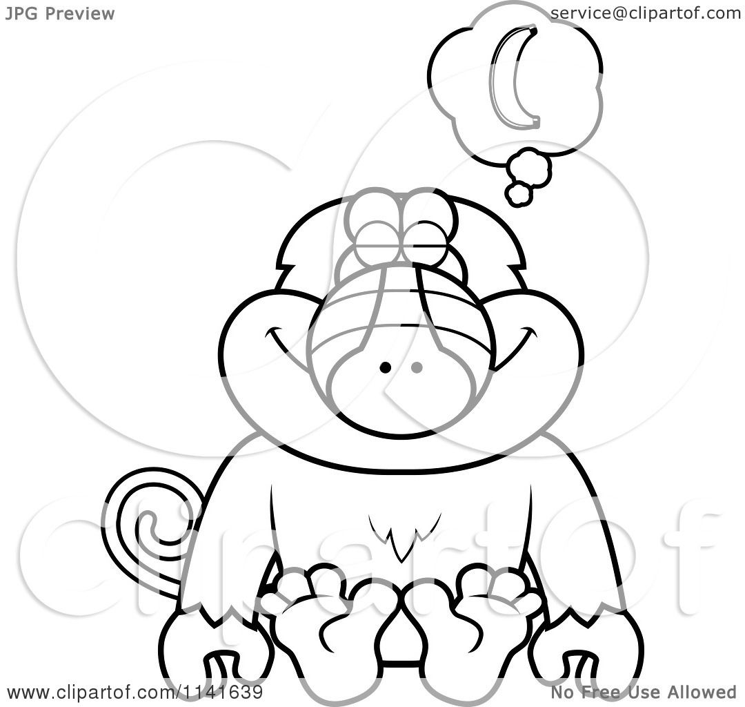 Cartoon Clipart Of A Black And White Baboon Monkey