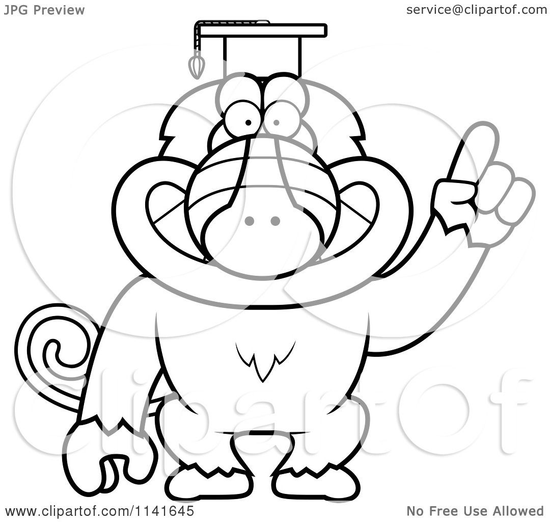 Cartoon Clipart Of A Black And White Baboon Monkey Wearing