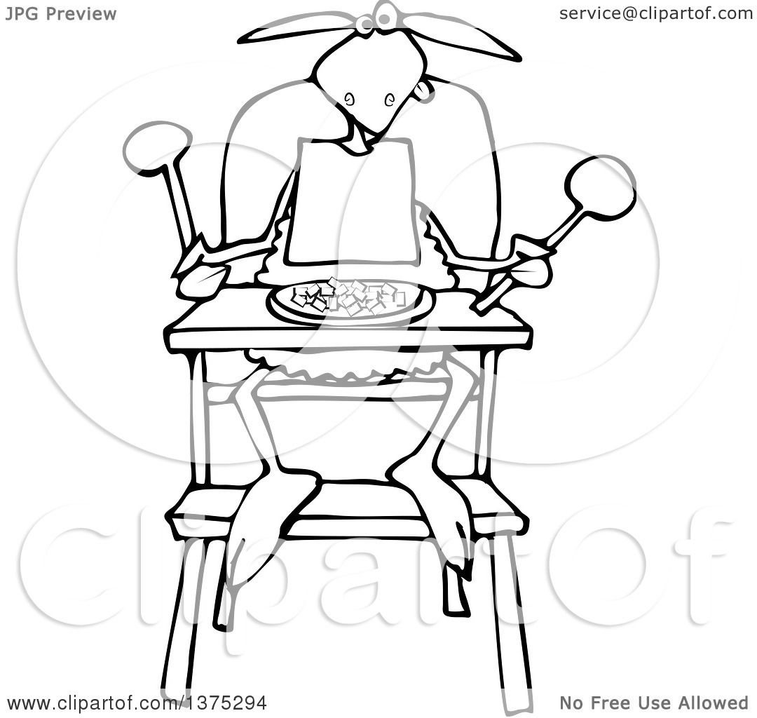 Cartoon Clipart Of A Black And White Baby Lamb Sitting In