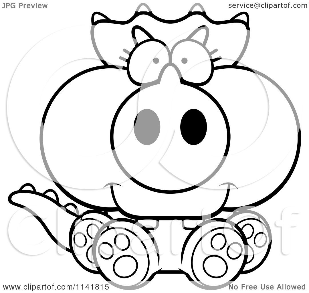 Cartoon Clipart Of A Black And White Baby Triceratops