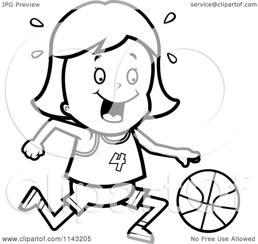 Cartoon Clipart Of A Black And White Basketball Girl