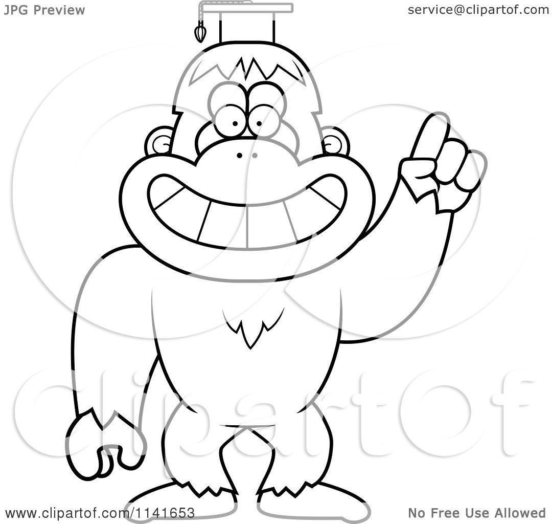 Cartoon Clipart Of A Black And White Bigfoot Sasquatch