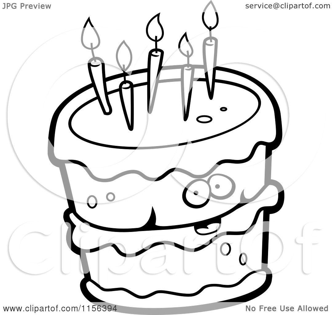 Cartoon Clipart Of A Black And White Birthday Cake