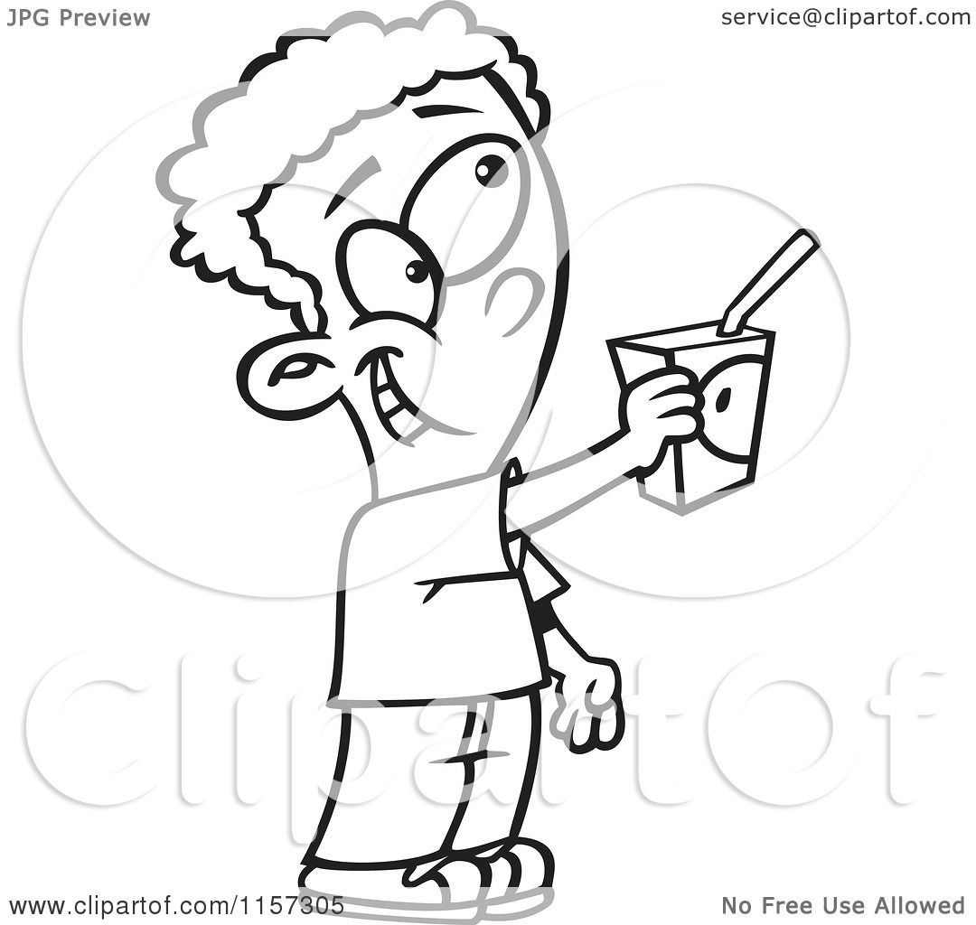 Cartoon Clipart Of A Black And White Boy Offering To Share