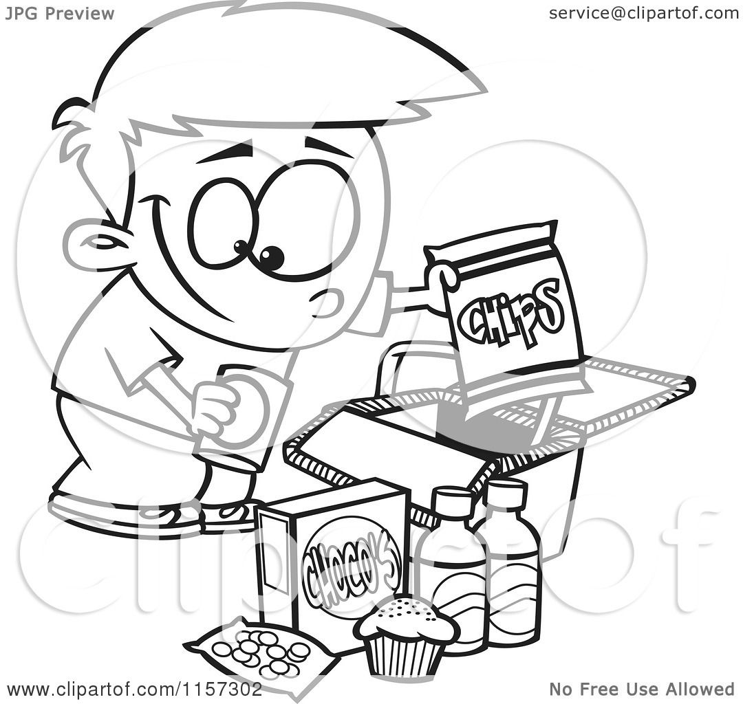 Cartoon Clipart Of A Black And White Boy Packing Junk Food Into A Picnic Basket