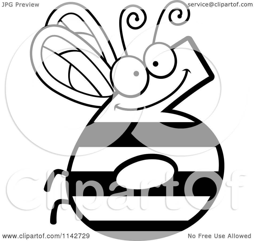 Cartoon Clipart Of A Black And White Bug Number 6