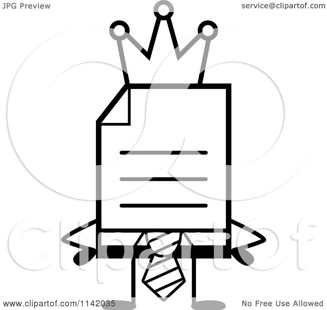 Cartoon Clipart Of A Black And White Business Document Mascot In A Red Tie King