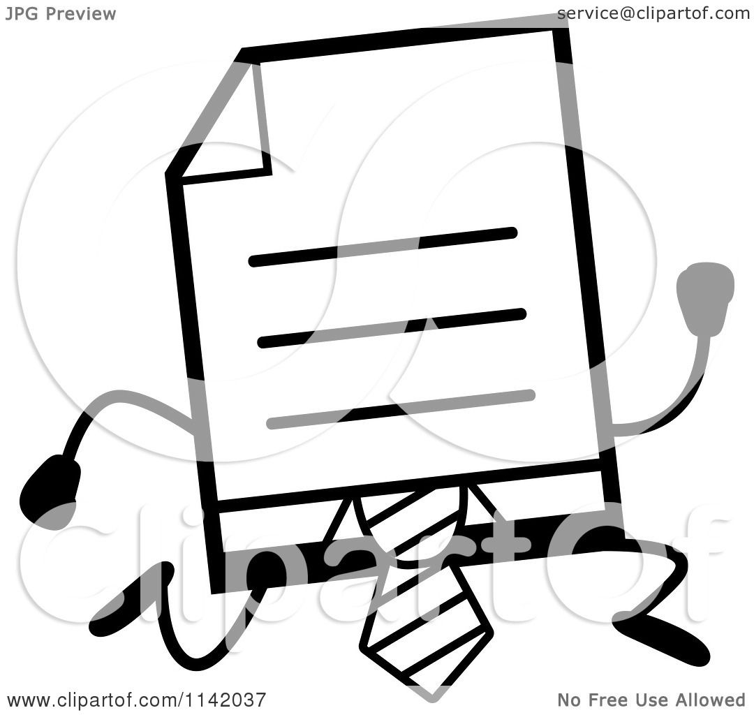 Cartoon Clipart Of A Black And White Business Document Mascot In A Red Tie Running
