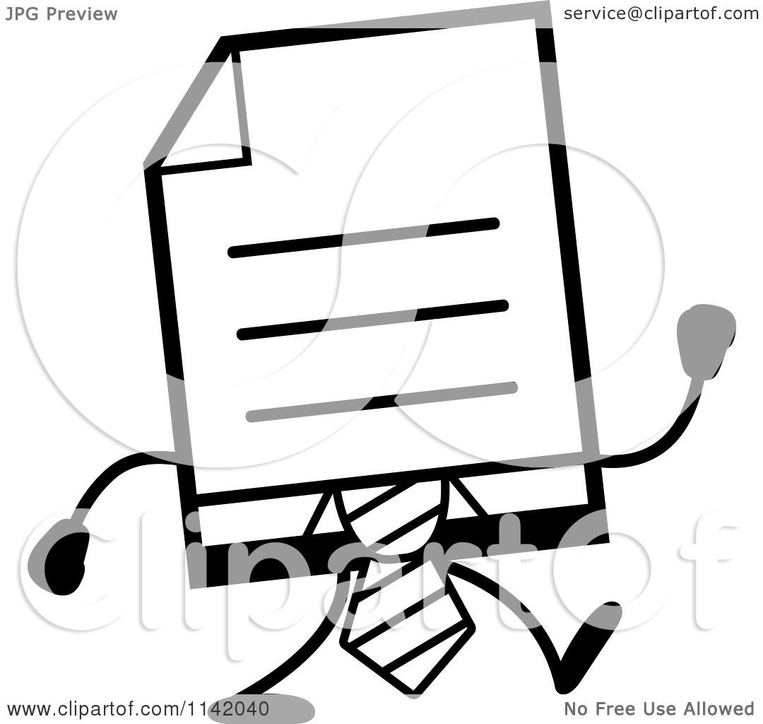 Cartoon Clipart Of A Black And White Business Document Mascot In A Red Tie Walking