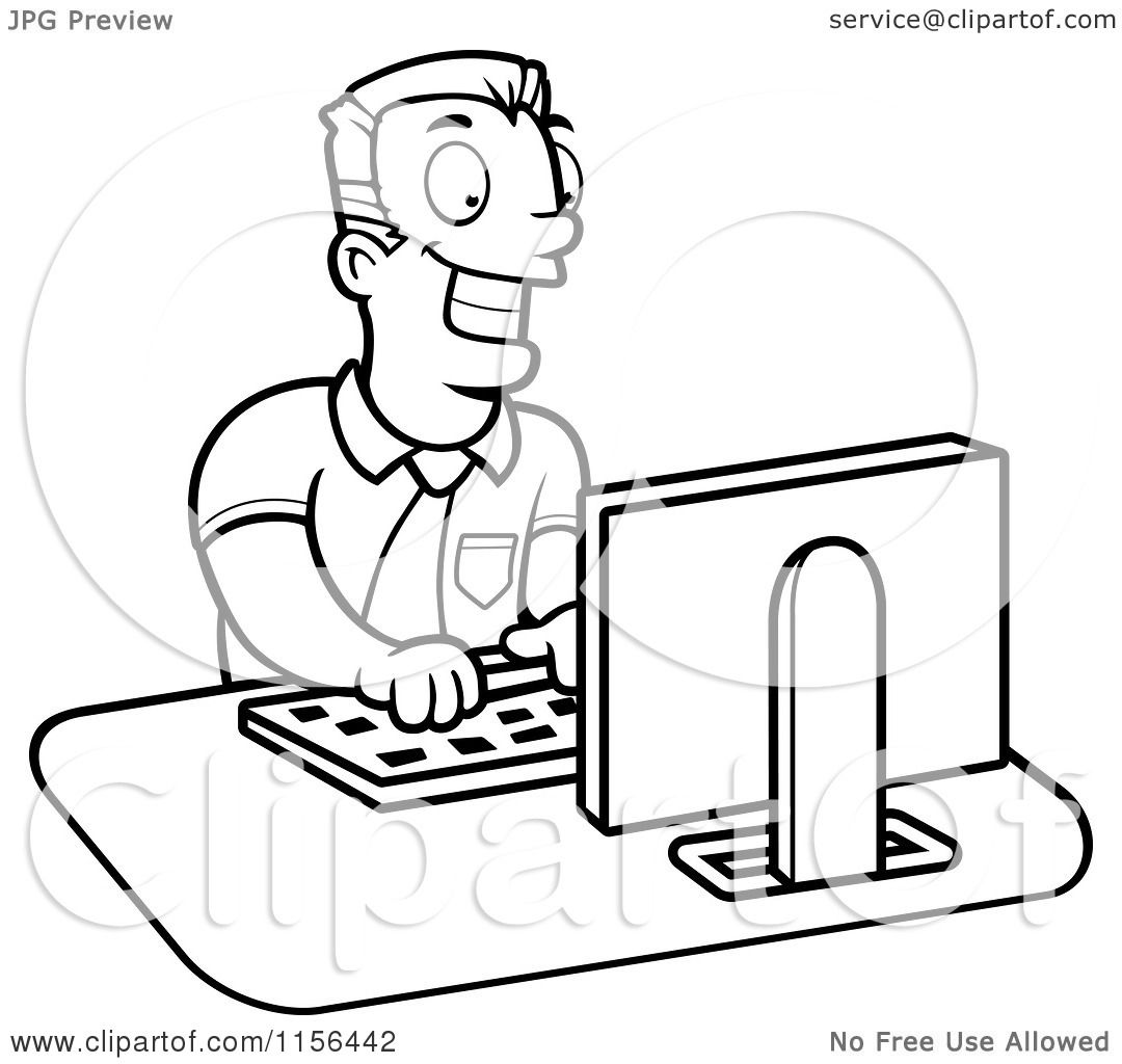 Cartoon Clipart Of A Black And White Businessman Working On A Computer