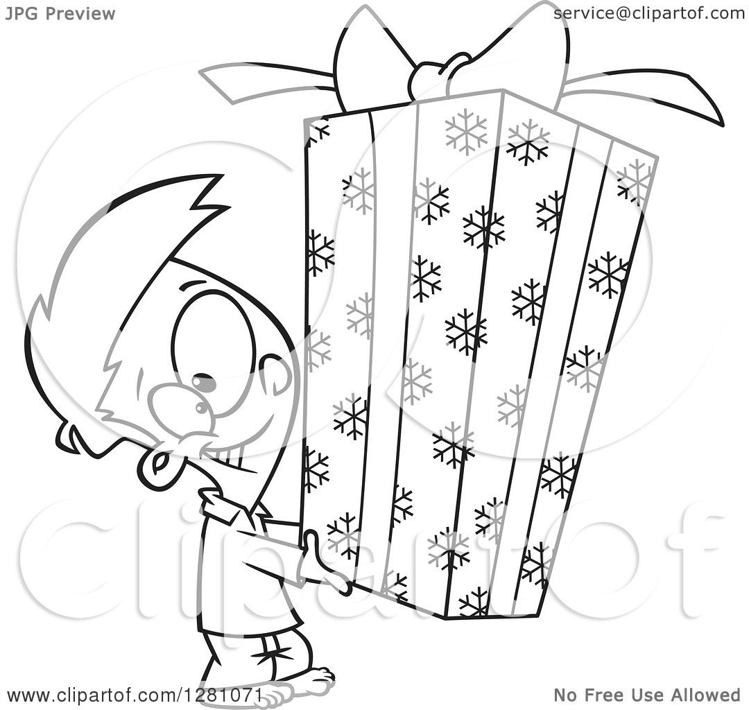 Cartoon Clipart Of A Black And White Cartoon Happy Little