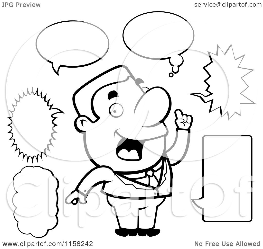 Cartoon Clipart Of A Black And White Chatty Businessman With Different Talk Balloons