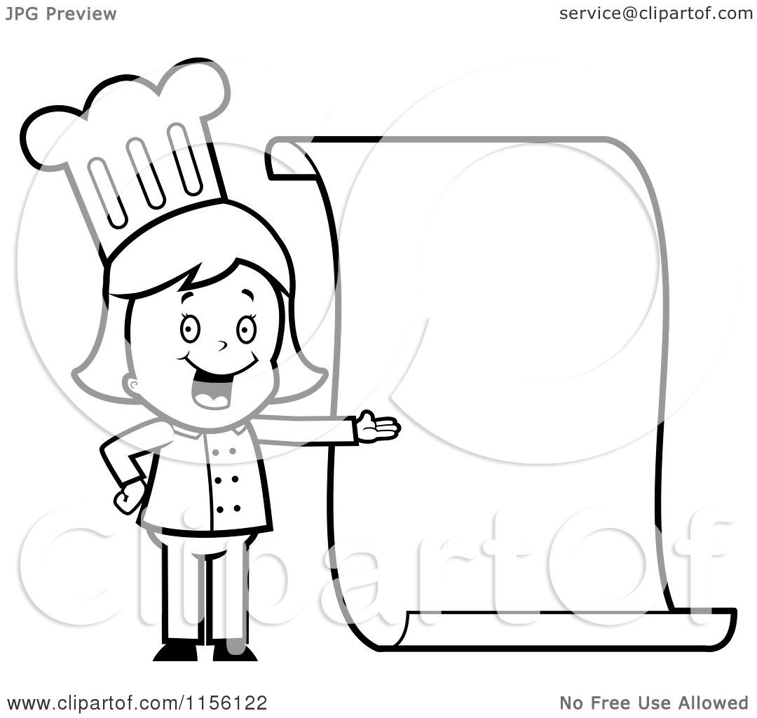 Cartoon Clipart Of A Black And White Chef Girl Presenting