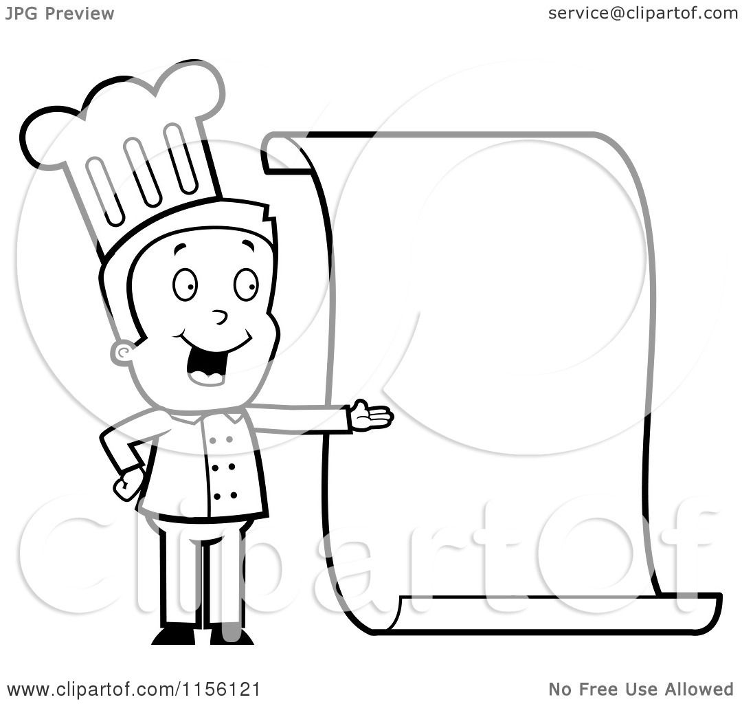 Cartoon Clipart Of A Black And White Chef Presenting A