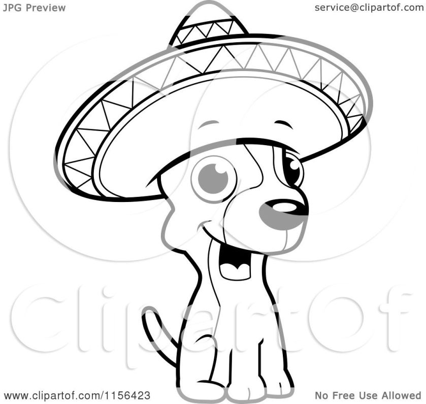 cartoon clipart of a black and white chihuahua sitting and
