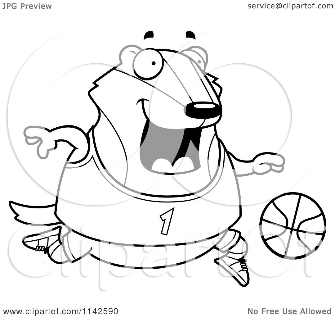 Cartoon Clipart Of A Black And White Chubby Badger Playing Basketball