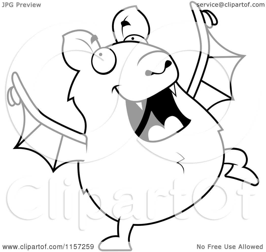 Cartoon Clipart Of A Black And White Chubby Bat Dancing